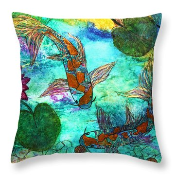 Koi Eating Apple Snails Throw Pillow
