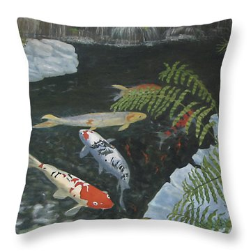 Throw Pillow featuring the painting Koi Fish by Karen Zuk Rosenblatt