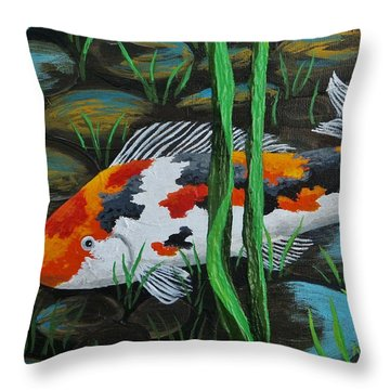 Koi Fish Throw Pillow by Katherine Young-Beck