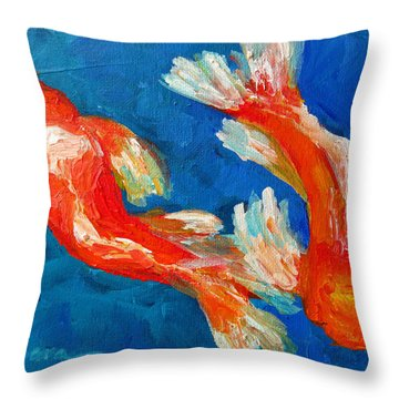 Koi Fish Throw Pillow by Patricia Awapara
