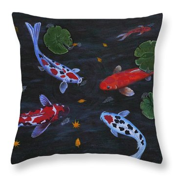 Koi Fishes Original Acrylic Painting Throw Pillow