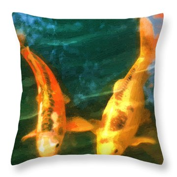 Throw Pillow featuring the painting Koi Friends by Doug Kreuger