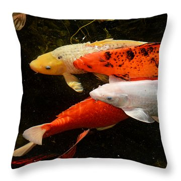 Koi Gathering Throw Pillow