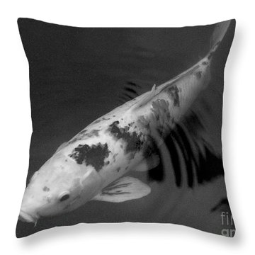 Koi In Black And White Throw Pillow by Mary Deal