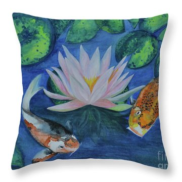 Koi In The Lily Pond Throw Pillow by Suzette Kallen
