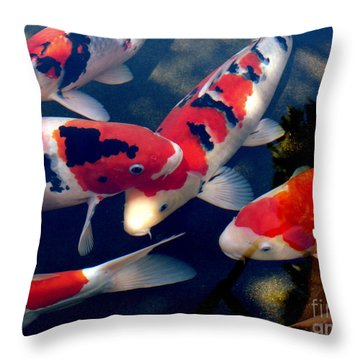 Throw Pillow featuring the photograph koi by Irma BACKELANT GALLERIES