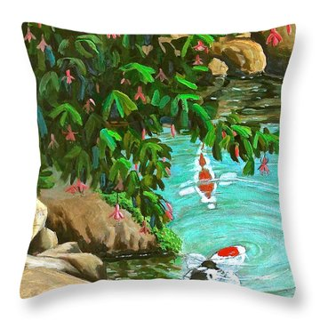 Throw Pillow featuring the painting Koi Kingdom by Dan Redmon