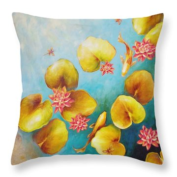 Koi Pond Throw Pillow