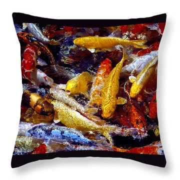 Throw Pillow featuring the photograph Koi Pond by Marie Hicks
