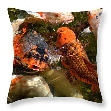 Koi Rising Throw Pillow