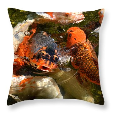 Koi Rising Throw Pillow