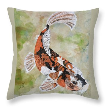 Throw Pillow featuring the painting Koi by Suzette Kallen
