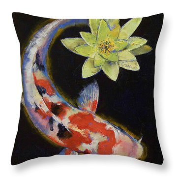 Koi With Yellow Water Lily Throw Pillow