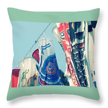 Koinobori Flags Throw Pillow by Rachel Mirror