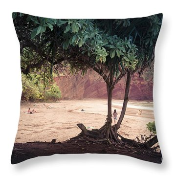Koki Beach Kaiwiopele Haneo'o Hana Maui Hikina Hawaii Throw Pillow by Sharon Mau