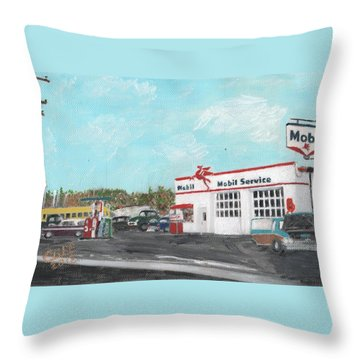 Koki's Garage Throw Pillow
