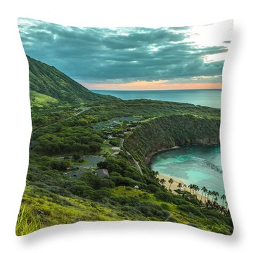 Koko Head Crater And Hanauma Bay 1 Throw Pillow by Leigh Anne Meeks