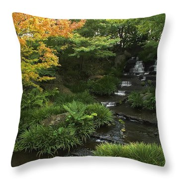 Kokoen Garden Waterfall - Himeji Japan Throw Pillow by Daniel Hagerman