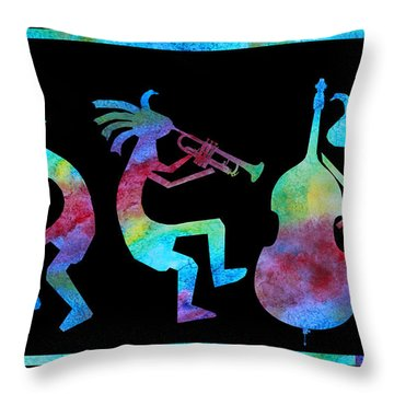 Kokopelli Jazz Trio Throw Pillow by Jenny Armitage