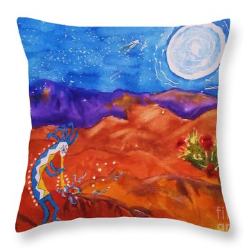 Kokopelli Playing To The Moon Throw Pillow