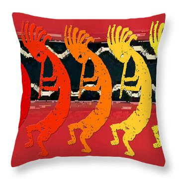 Kokopelli Quintet 4 Throw Pillow