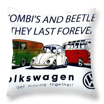 Kombis And Beetles Last Forever Throw Pillow by Bill Cannon