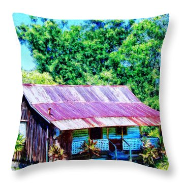 Kona Coffee Shack Throw Pillow by Dominic Piperata