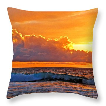 Throw Pillow featuring the photograph Kona Golden Sunset by David Lawson