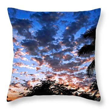 Throw Pillow featuring the photograph Kona Sunset by David Lawson