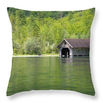 Konigsee Boathouse Throw Pillow by Jeremy Voisey