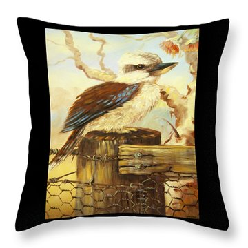 Kookaburra On Fence Throw Pillow