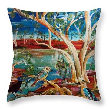 Throw Pillow featuring the painting Kookaburras Billabong by Roberto Gagliardi