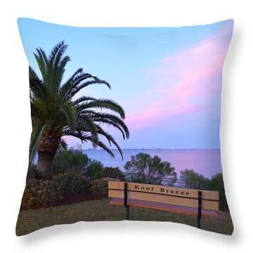 Kool Breeze Bench At Sunrise Throw Pillow by Jeff at JSJ Photography