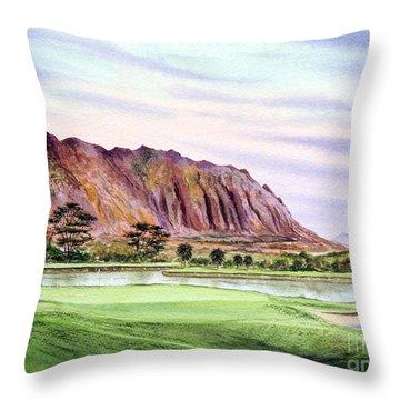 Koolau Golf Course Hawaii 16th Hole Throw Pillow