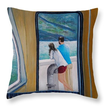 Kootenay Lake Ferry Throw Pillow