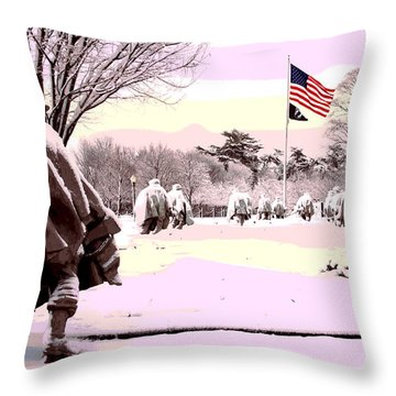 Throw Pillow featuring the mixed media Korean War Memorial by Charles Shoup
