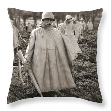 Korean War Memorial - Washington D.c. Throw Pillow by Mike McGlothlen