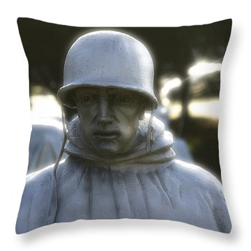 Korean War Soldier 2 Throw Pillow