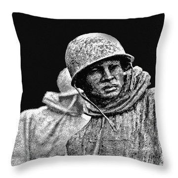Throw Pillow featuring the painting Korean War Veterans Memorial by Bob and Nadine Johnston