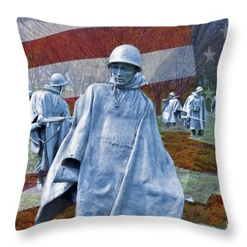 Korean War Veterans Memorial Bronze Sculpture American Flag Throw Pillow by David Zanzinger