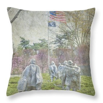 Korean War Veterans Memorial Washington Dc Beautiful Unique   Throw Pillow by David Zanzinger