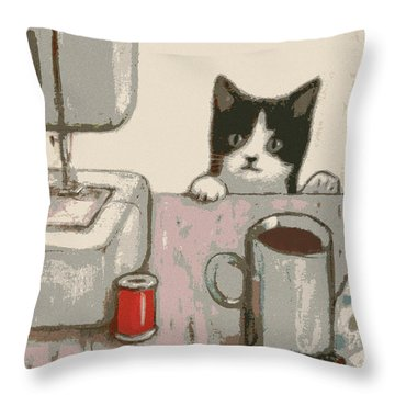 Crafty Cat #2 Throw Pillow
