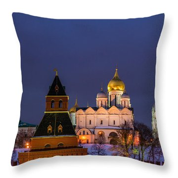 Kremlin Cathedrals At Night - Featured 3 Throw Pillow by Alexander Senin