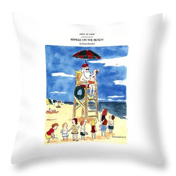 Kringle On The Beach Throw Pillow
