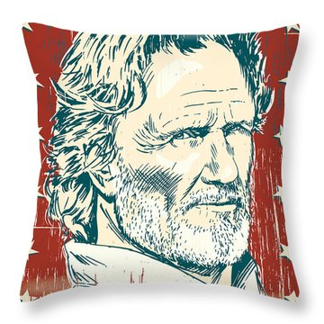 Kris Kristofferson Pop Art Throw Pillow