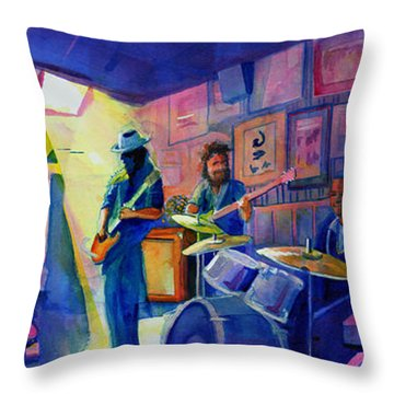 Kris Lager Band At Sanchos Broken Arrow Throw Pillow by David Sockrider