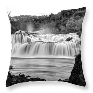 Krka Waterfalls Bw Throw Pillow