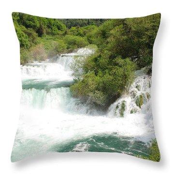 Krka Waterfalls Croatia Throw Pillow