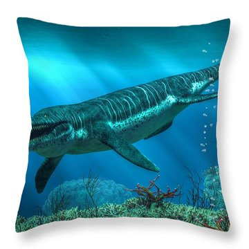 Kronosaurus Throw Pillow by Daniel Eskridge