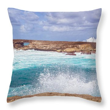 Throw Pillow featuring the photograph Kukuihoolua Island Crashing Wave From Laie Point by Aloha Art